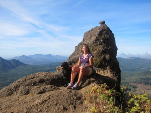 A moment of balance , halfway up Saddle Mountain in the Oregon Coastal Range