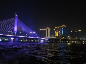 Cruising down the Pearl River, Guangzhou China...talk about dazzling beauty!