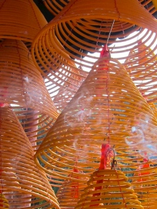 Images of balance are everywhere in China...spiral incense in a Macao temple